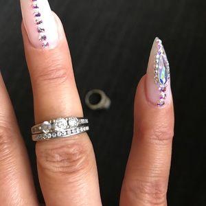 Jewelry - 1 cttw diamond bridal set 10k white gold sz 7